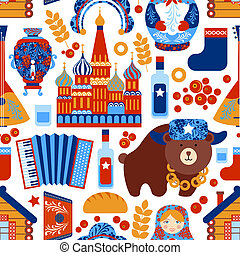Russia travel seamless pattern - Russia travel food alcohol...