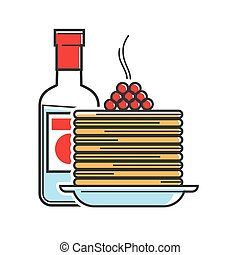 Russia travel vector symbols of Russian vodka and pancakes for tourist culure