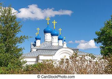 Russia, Tver region. Temple complex in the village of Zavidovo.