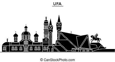 Russia, Ufa architecture skyline with landmarks, urban cityscape, buildings, houses, ,vector city landscape, editable strokes