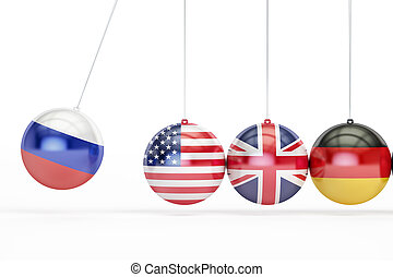 Russia, USA, Great Britain, Germany political war conflict concept. 3D rendering