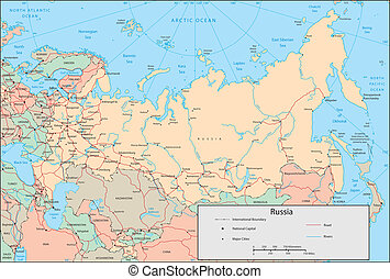 Russia - Vector map. Marked geographical and topographical ...