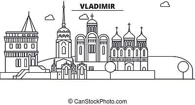 Russia, Vladimir architecture line skyline illustration....