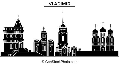 Russia, Vladimir architecture urban skyline with landmarks,...