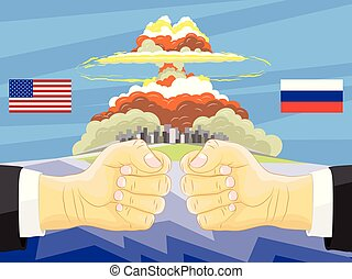 Russia vs America, Atomic bomb on background