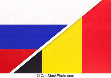 Russia or Russian Federation vs Kingdom of Belgium national flag from textile. Relationship, partnership and economic between two european and asian countries.