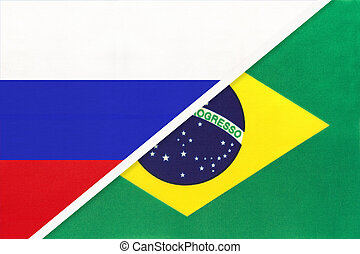 Russia vs Brazil national flag from textile. Relationship and partnership between two countries.