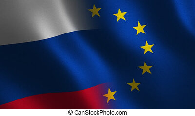 Russia vs. European Union flag waving 3d. Transition. Alpha...