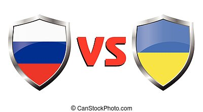 Russia vs Ukraina flag icons theme