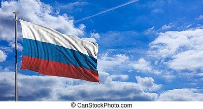 Russia waving flag on blue sky. 3d illustration