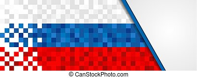 Russia web banner of russian pixel art flag