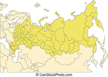 Russia editable vector map broken down by administrative districts includes surrounding countries, in color, all objects editable. Great for building sales and marketing territory maps, illustrations, web graphics and graphic design. Includes sections of surrounding country, Finland, Poland, Ukraine...