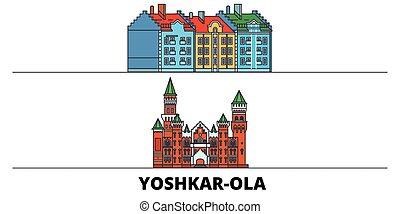 Russia, Yoshkar Ola flat landmarks vector illustration. ...