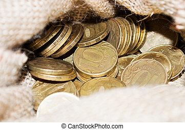 Russian 10 ruble coins closeup - Russian 10 symbol ruble...