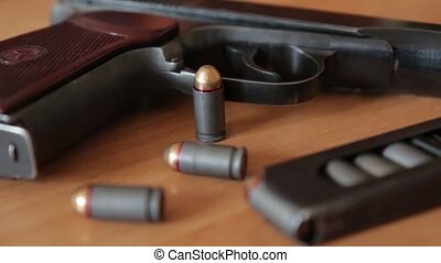 russian 9mm handgun PM Makarov on the table with holster,...