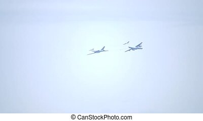 Russian Air Force strategic bomber aerial refueling from the...