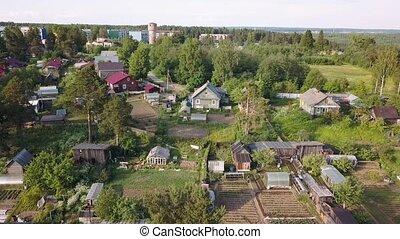 Russian an urban-type settlement (Nikolskiy) with wooden...