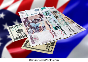 Russian and American money on an abstract background. The Russian ruble on the us dollar against the flags of America and Russia.