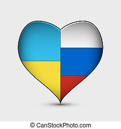 Russian and Ukrainian flags in heart