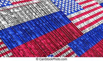 Russian and us flag composed of binary datastreams cybersecurity concept