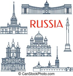 Tourist attractions of russian architecture symbols for vacation planning and travel agency design with linear Smolny and Kazan Cathedrals, Russian Admiralty and Alexander Column, Peter and Paul Fortress and Cathedral of Christ The Savior