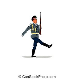 Russian army. The soldier honor guard marches. Vector Illustration.