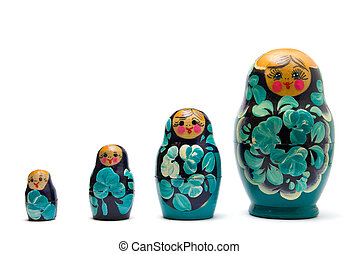 russian babushka nesting dolls (matreshka) line isolated