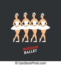 Russian Ballet dancers. Four ballerinas dancing swan lake on a dark background. Russian ballet by Tchaikovsky Swan Lake. Flat style