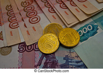 Russian banknotes and coins