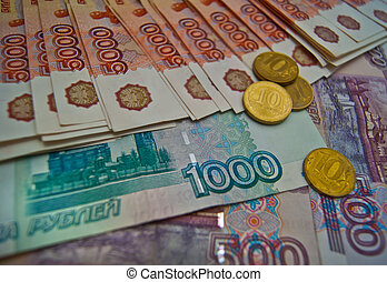 Russian banknotes and coins background