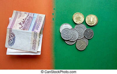 Russian banknotes and coins rubles. Background made of money.