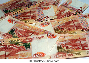 Russian banknotes as background