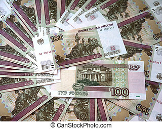 Russian banknotes in a hundred rou