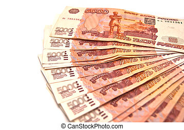 Russian banknotes on white background