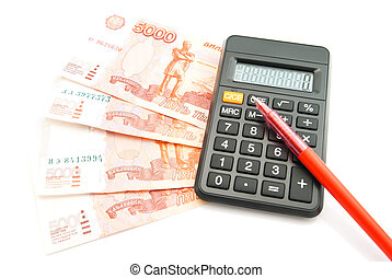 Russian banknotes, pen and calculator on white