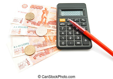 Russian banknotes, red pen, coins and calculator