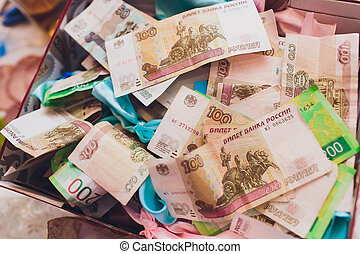 Russian banknotes rubles for payment the bill in a restaurant.