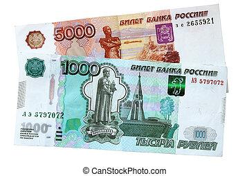 Russian banknotes.