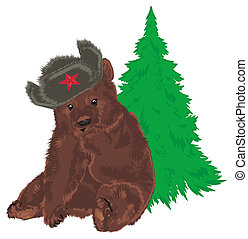 russian bear and green tree