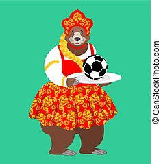 Russian bear and soccer ball. Welcome. Football Championship in Russia. Beast in national costume. ethnic Historical hat Kokoshnik with Khokhloma painting. folk Dress. Humorous vector illustration