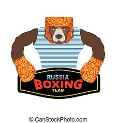Russian Bear Boxer patriot. Boxing gloves and helmet with style Khokhloma painting. Russian traditional floral pattern. Strong animal and championship belt