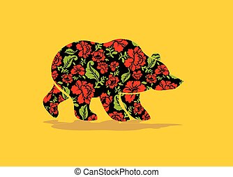 Russian Bear hohloma. National Folk painting of flowers. Wild animal of forest symbol of Russia