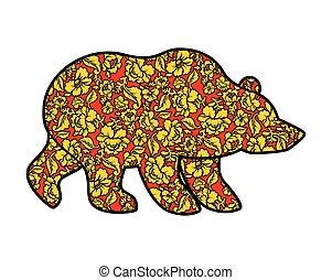 Russian Bear hohloma style. National Folk painting of...