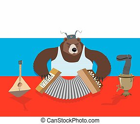 Russian bear plays accordion. Russian flag. Samovar