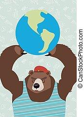 Russian bear threatens peace.