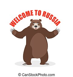 Russian bear. Welcome to Russia. Wi