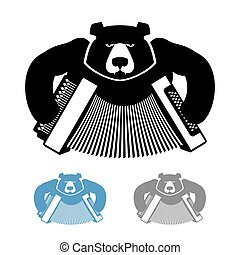 Russian bear with accordion icon flat style. Wild beast and...