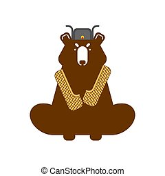 Russian bear with bast shoes. Vector illustration.