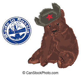 russian bear with blue printing