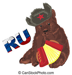 russian bear with colored objects